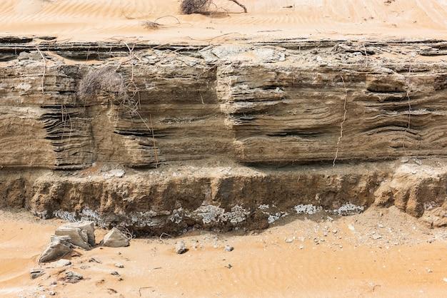 砂漠地帯の岩層テクスチャ。地すべり