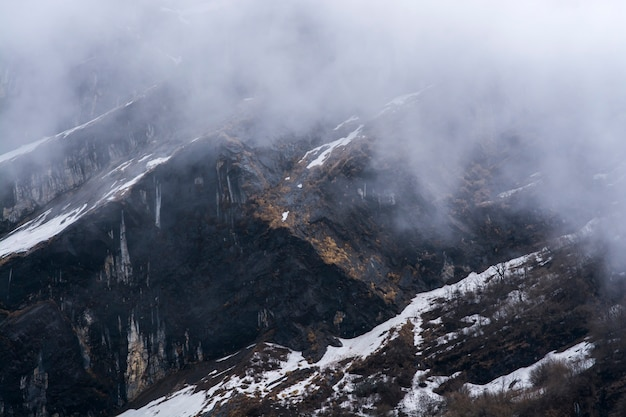 Rock mountain and mist in nepal