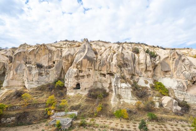 Rock mountain in open air museum in cappadocia, turkey