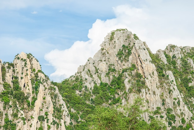 Rock moutain with blue sky in nakhonsawan province, thailand