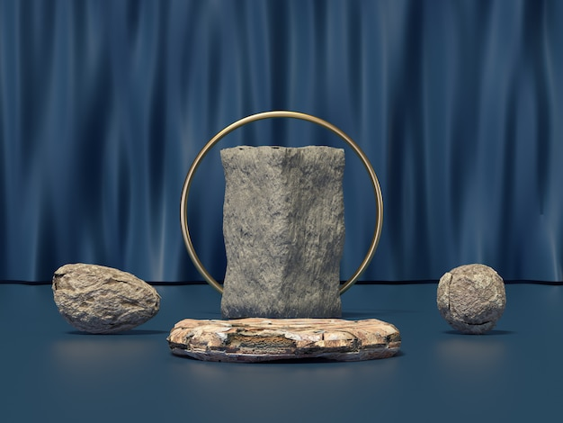 Rock stone set blue curtain scene 3d render
