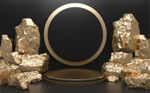 Камни на подиуме геометрические для презентации продукта. 3d рендеринг