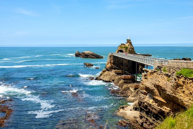 Rock of the virgin, biarritz city, france