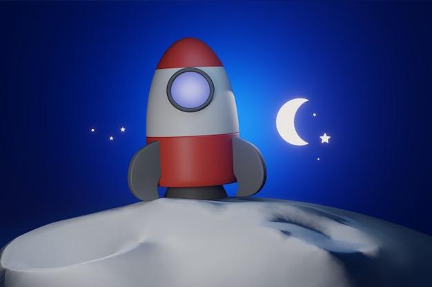 月の青いトーンの3dレンダリングに立っている宇宙服のロケット漫画