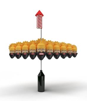 Ракетные фейерверки в горшке с десятью головами раваны - инструмент «перо». обтравочный контур включен в jpeg. легко составить.