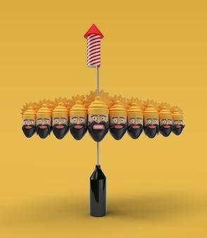 Ракетные фейерверки в горшке с десятью головами раваны - инструмент «перо», созданный обтравочный контур включен в jpeg легко составить.