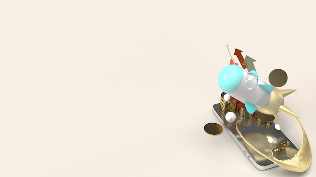 Rocket fly on mobile phone 3d rendering for startup content.