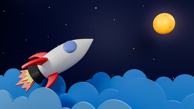 Rocket flying over cloud go to the moon on  galaxy background.business startup concept.3d model and illustration.