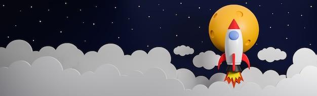 구름 위로 비행하는 로켓은 은하 배경에 달에 이동합니다. 사업 시작 개념입니다. 3d 모델 및 그림입니다.
