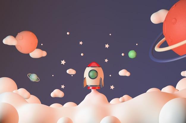 Rocket flying in space