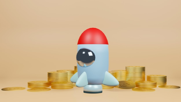 The rocket and gold coins for start up content 3d rendering