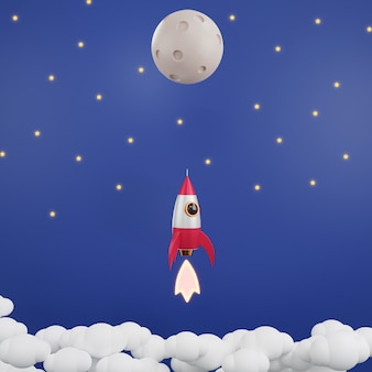 Rocket launch have smoke in the sky galaxy flying to moon over clouds 3d rendering illustration