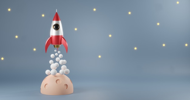 Rocket launch have smoke in the sky galaxy flying moon over clouds 3d rendering illustration