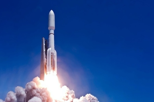 Rocket launch into open space. elements of this image were furnished by nasa. high quality photo