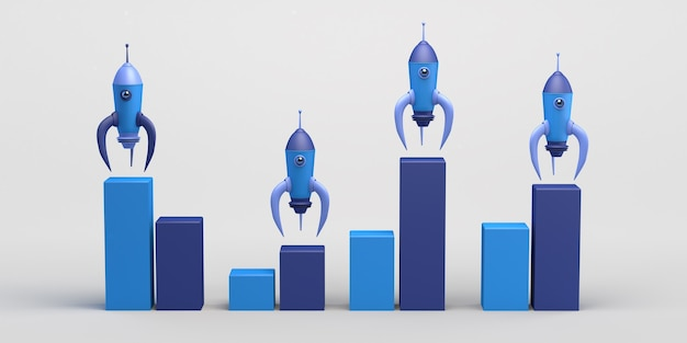 Rocket launch with bar chart statistics on the rise startup 3d illustration