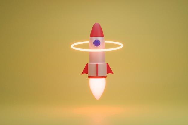 ロケットが光る円を越えて発射3dレンダリング