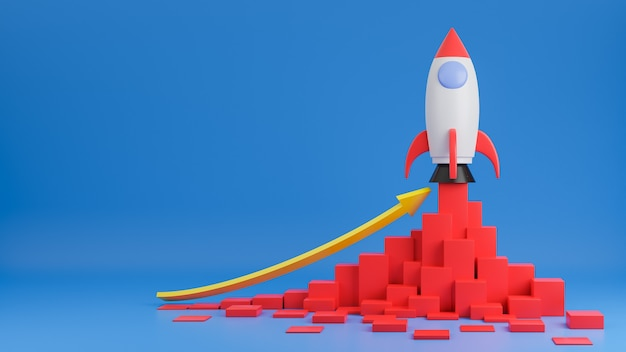 Rocket ship flies up with finance graph chart on blue