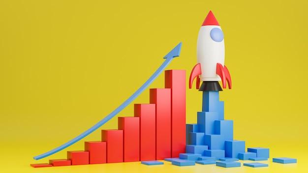로켓 우주선은 노란색 배경에 금융 그래프 차트와 함께 날아갑니다. 사업 시작 개념입니다 .3d 모델 및 그림입니다.