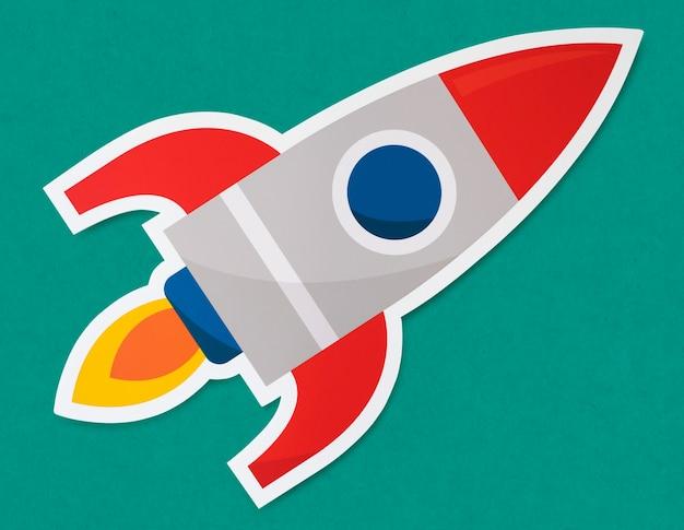 Rocket ship launching symbol on green paper