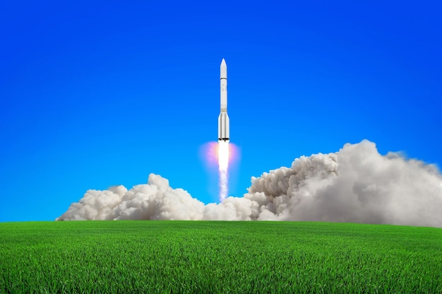 Rocket takes off into the sky leaving a massive cloud