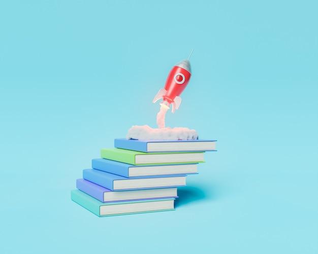 Ракета взлетает из стопки книг