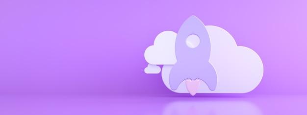 보라색 배경, 스토리지 개념, 3d 렌더링, 파노라마 모형 위에 구름과 로켓