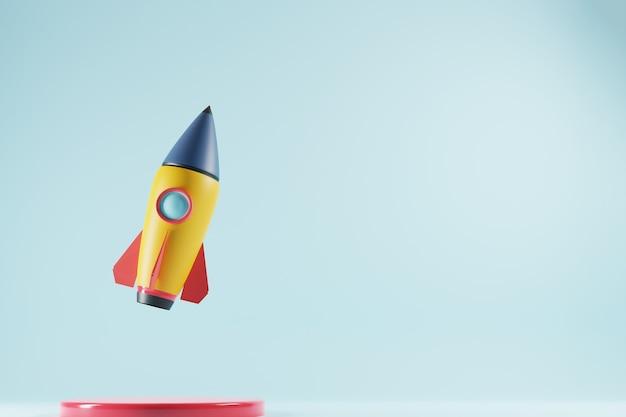 파란색 배경에 텍스트 복사 공간 로켓. 시작 비즈니스 개념. 3d 렌더링.