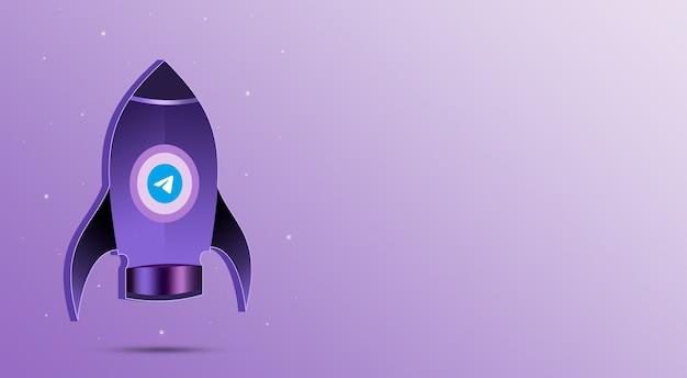 Ракета с иконкой телеграммы в иллюминаторе 3d