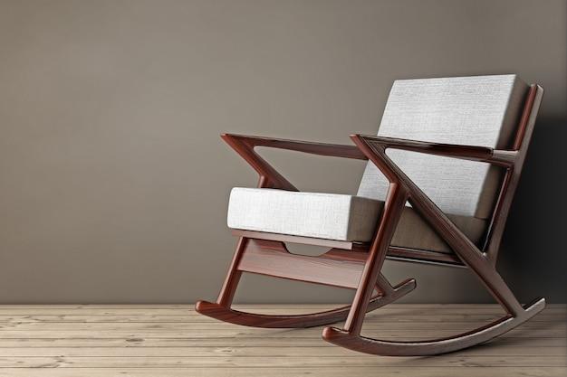 Кресло-качалка, обитое белой тканью, на деревянном полу. 3d рендеринг