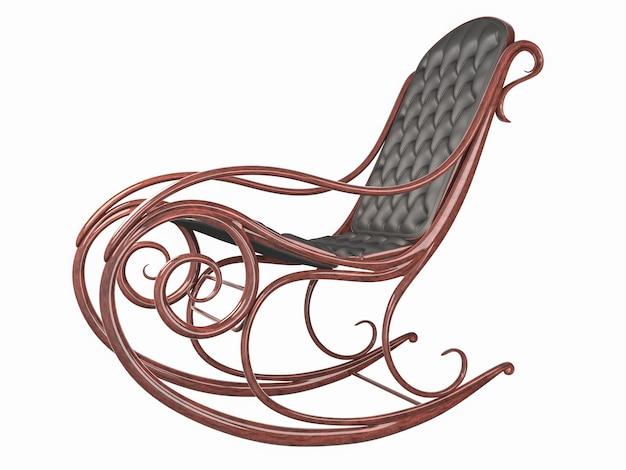 革の背もたれと座席が付いているロッキングチェア。分離された高品質のレンダリング
