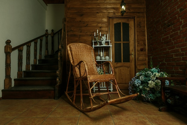 Rocking chair on wood