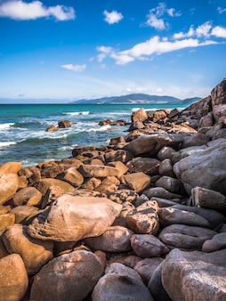 Rocks on the beach. island in ocean