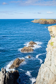 The rocks and cliffs in the ocean of the famous island belle ile en mer in france