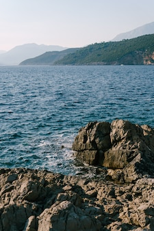 Rocks on the coast of the lustica peninsula in montenegro