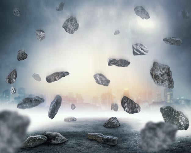 Скалы падают в хаосе
