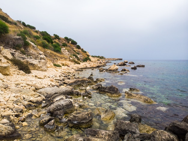 Rocks near konnos beach at daylight