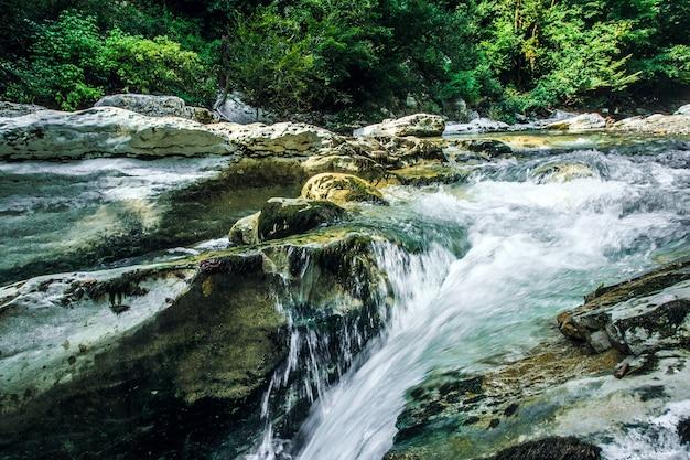 Rocks river deep dark forest river stream landscape