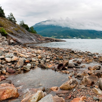 Rocks at the riverside, hardangervidda, hardanger, norway