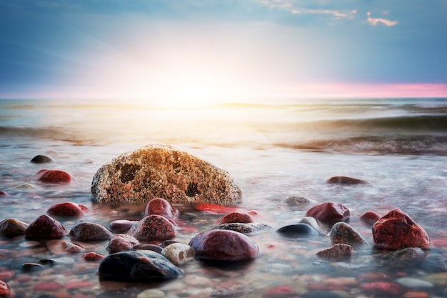 Rocks in the sand at sunset