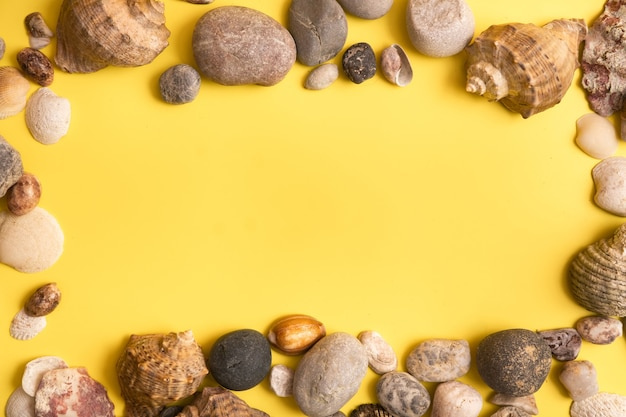 Rocks and shells on a yellow background .marine theme