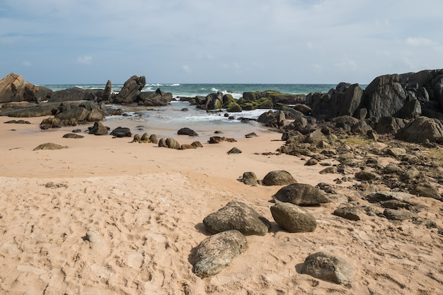 Rocks on the shore of the indian ocean, galle, sri lanka