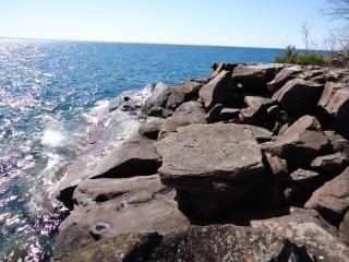Rocks on superior shore