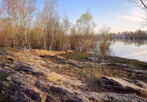 Rocky bank of the ob in novosibirsk