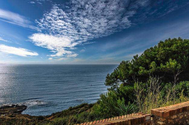 화창한 날의 바위 해변과 푸른 바다