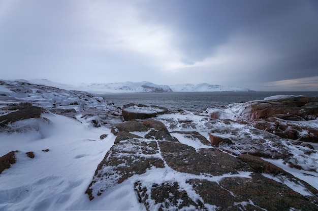 Rocky coast of the kola peninsula, barents sea