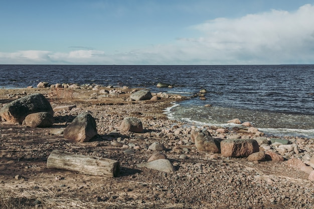 Rocky coastline in the north of russia.