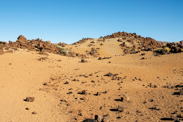Rocky desert with clear blue sky