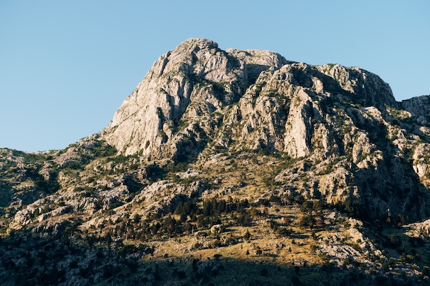 Rocky mountain top above the old town of kotor in montenegro
