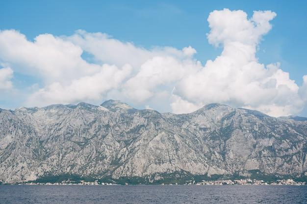 Rocky mountains in boka kotorska in montenegro in kotor bay
