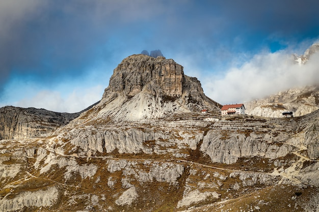 Rocky mountains and hikimg trails in tre cime di lavaredo park in italy